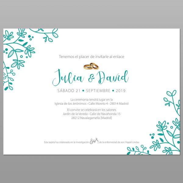 Invitaciones de boda solidarias Modelo 3